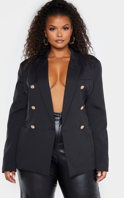 Plus Black Double Breasted Military Style Woven Blazer