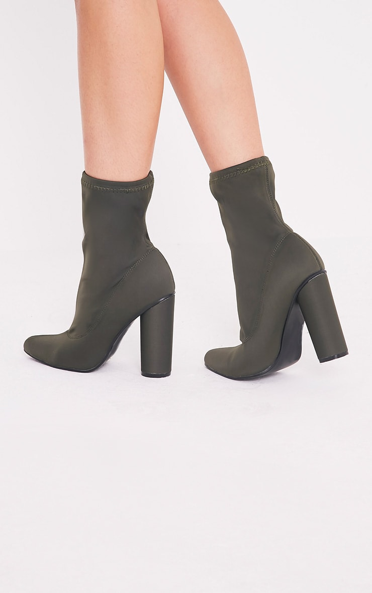 Leanah Khaki Neoprene Pointed Heeled Ankle Boots 2