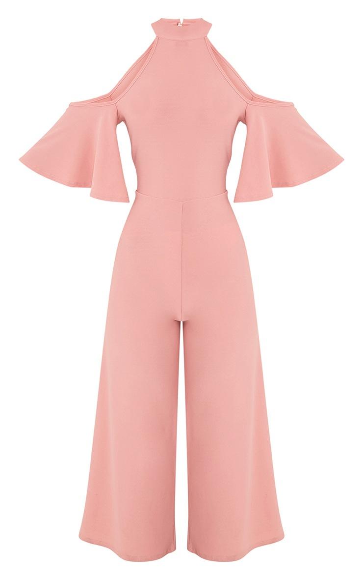 Jaymie Pink Cold Shoulder Cullotte Jumpsuit 3