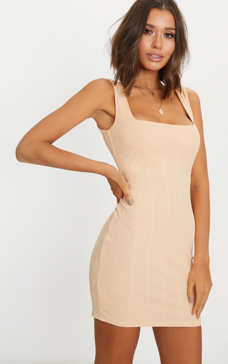 Nude Bandage Square Neck Bodycon Dress  1