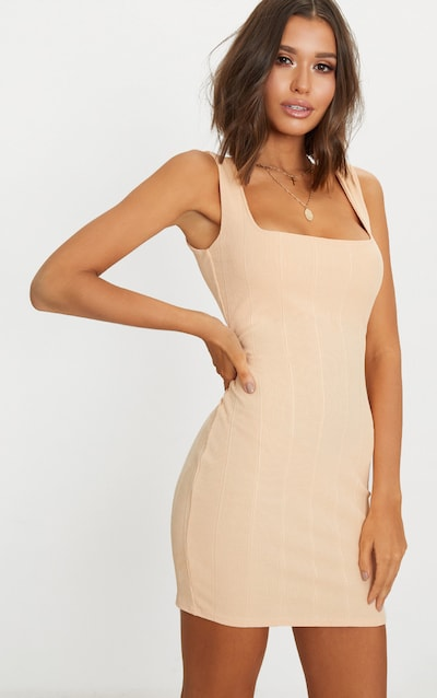 530803cfba Nude Bandage Square Neck Bodycon Dress