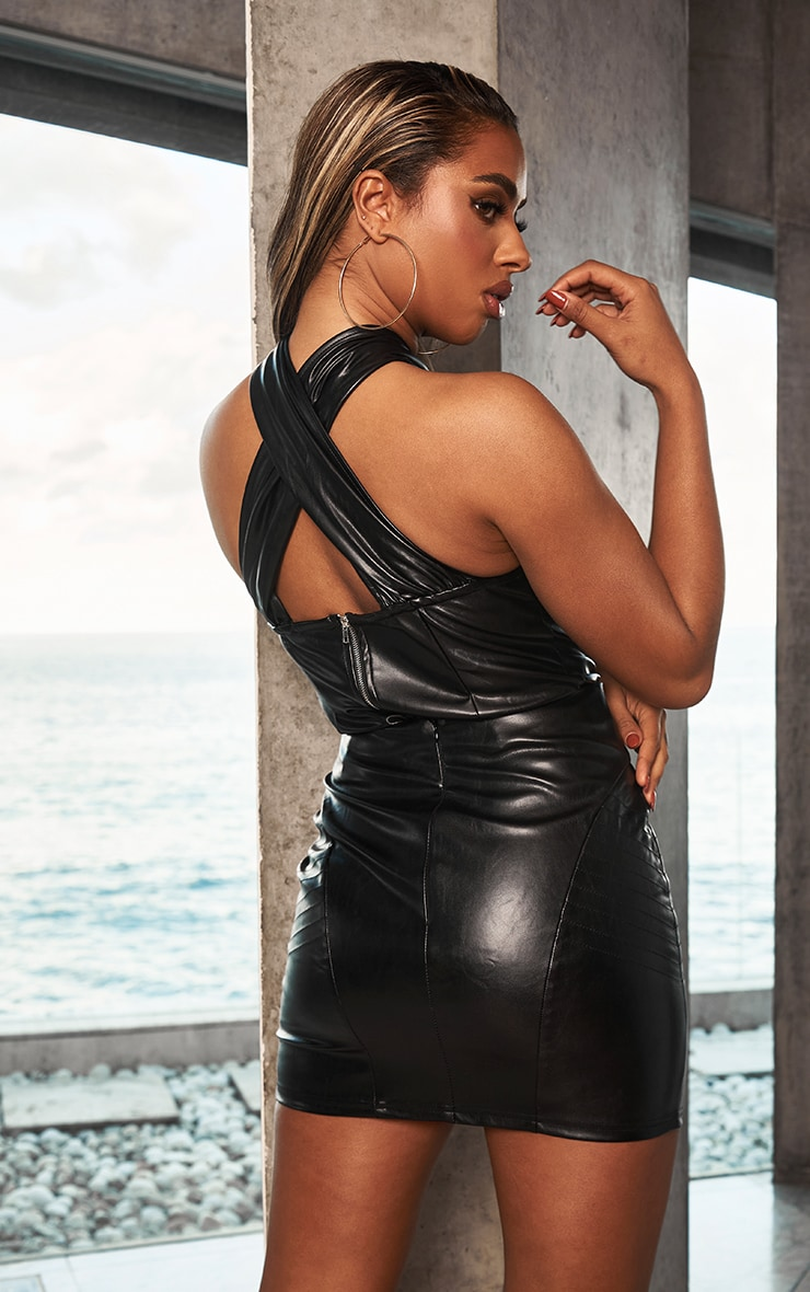 Black Faux Leather Seam Detail Mini Skirt 2