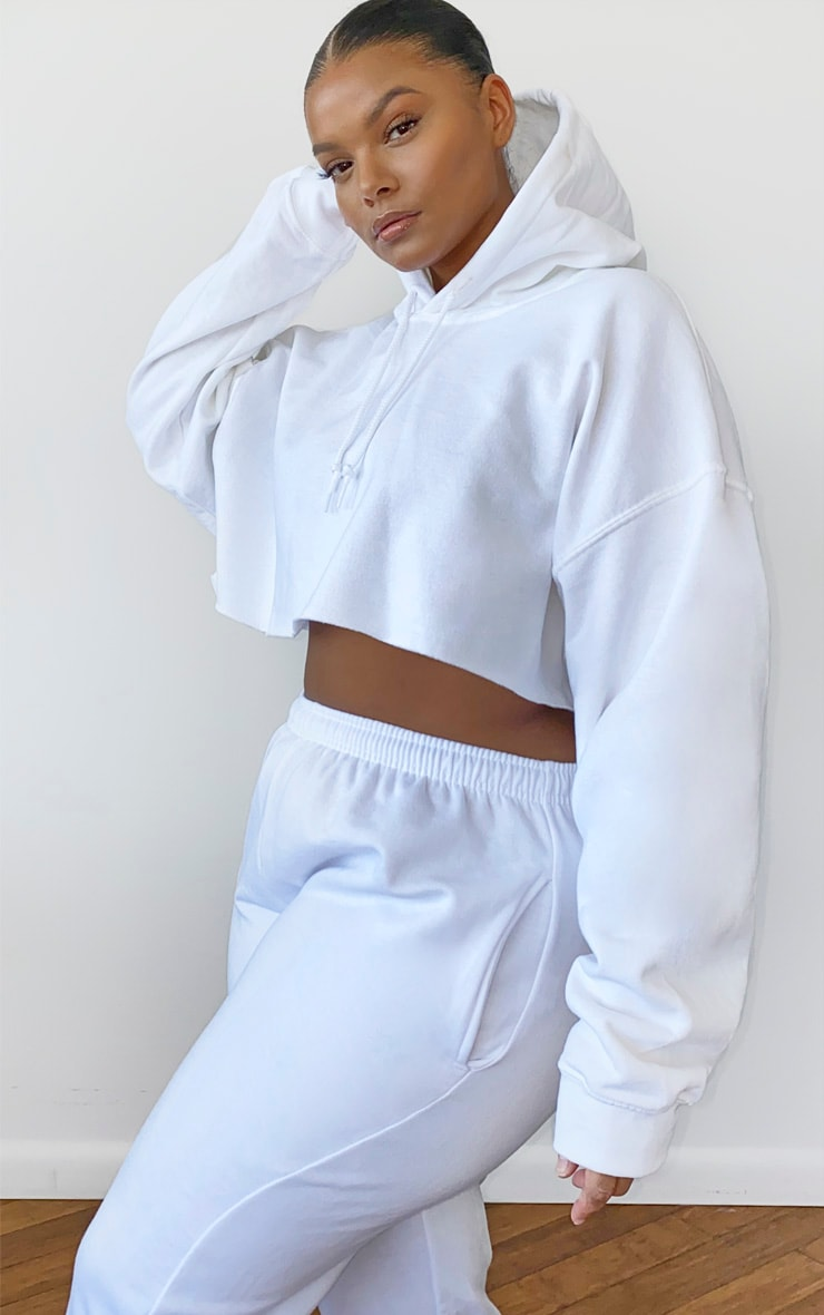 Plus White Ultimate Oversized Crop Hoodie 2