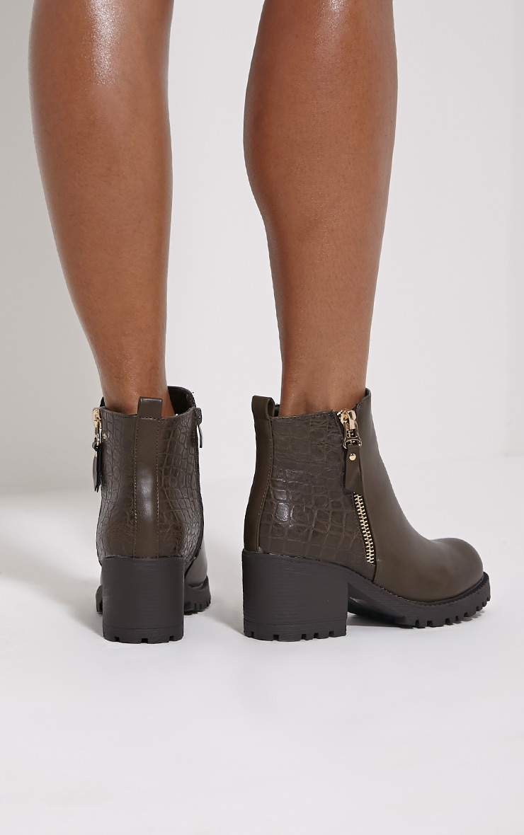 Maddie Taupe Croc Heeled Ankle Boots 2