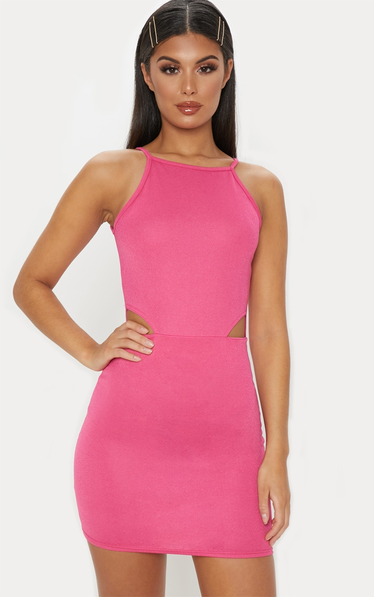 Hot Pink High Neck Cut Out Bodycon Dress