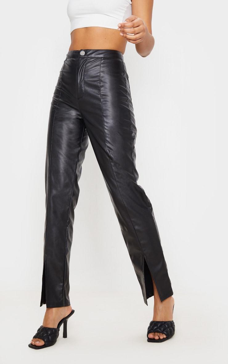 Pantalon en similicuir noir à ourlet fendu 2