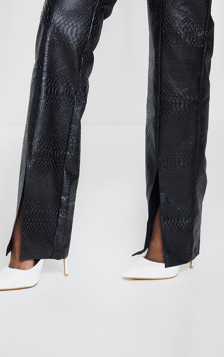 PREMIUM Black Faux Leather Croc Split Hem Skinny Trousers 4
