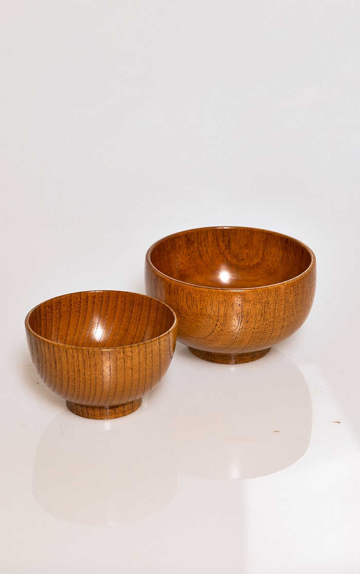 Brown Wooden Bowl 2 Pack 3