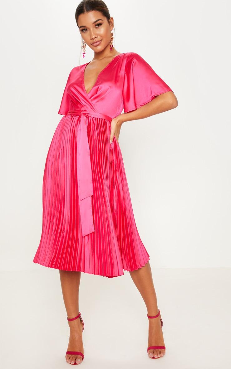 Fuchsia Satin Pleated Midi Dress by Prettylittlething