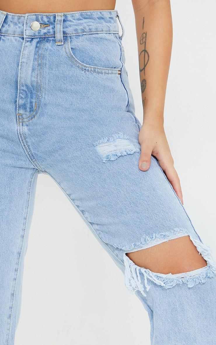 Petite Knee Rip Light Blue Wash Long Leg Straight Jeans 4