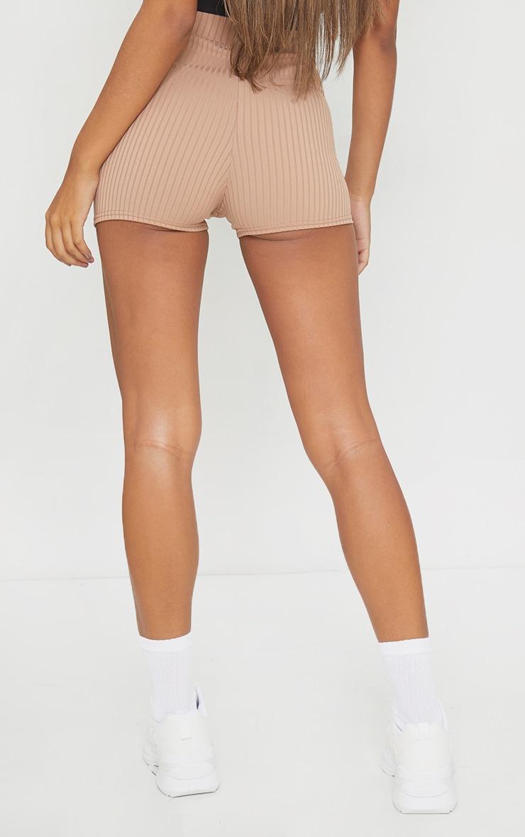 Taupe Ribbed Shorts 3
