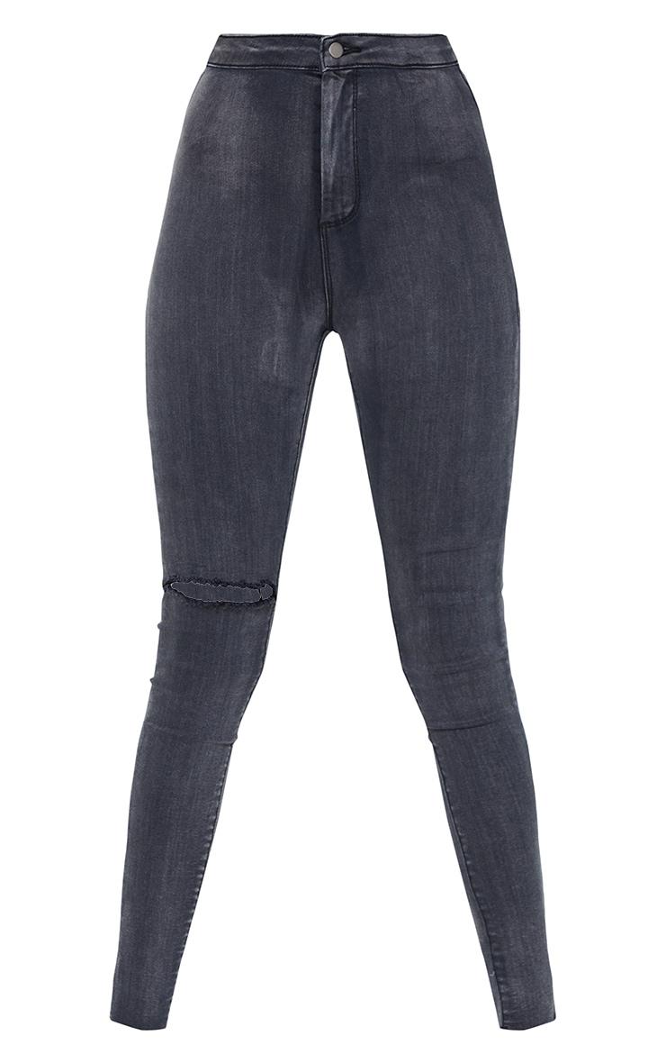 PRETTYLITTLETHING Tall Washed Black Raw Hem Knee Rip Disco Skinny Jean 5