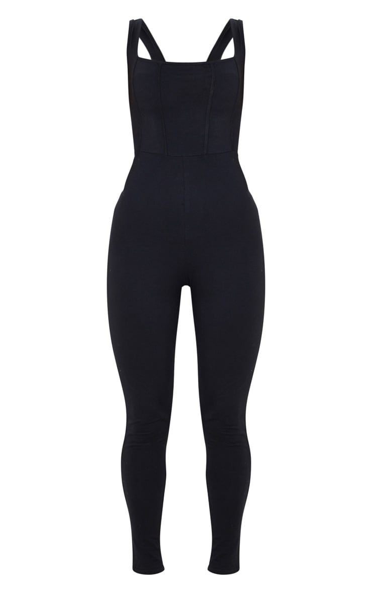 Black Binding Detail Square Neck Jumpsuit 3