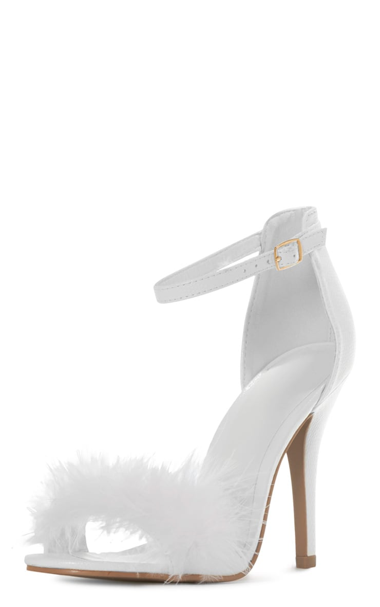 Saskia White Leather Fluffy Strappy Heeled Sandals 2