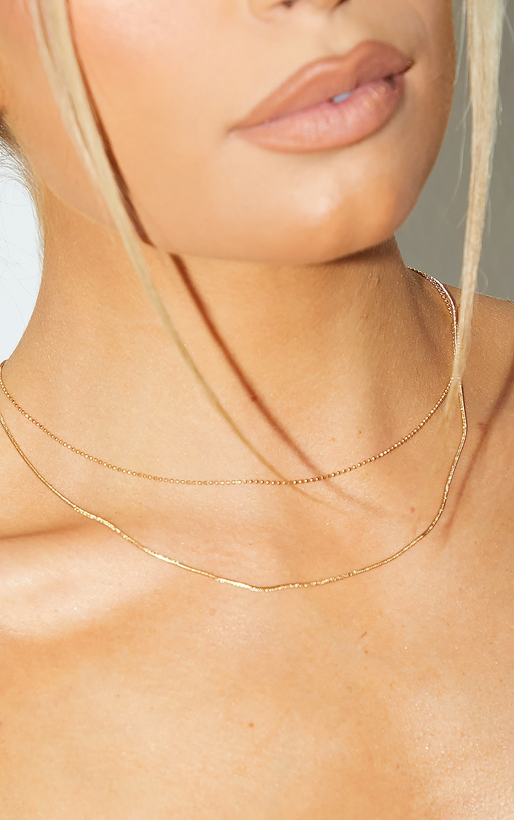 Gold Plain Chain Double Layering Necklace 2