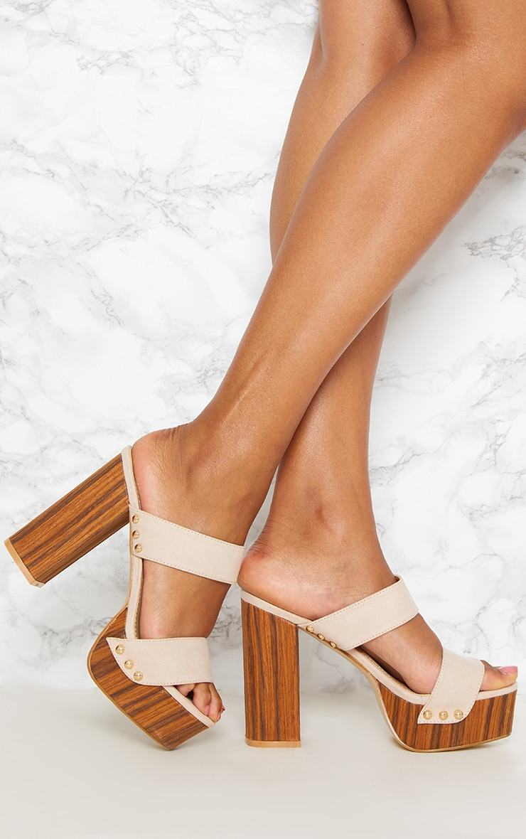 Nude Studded Twin Strap Platform