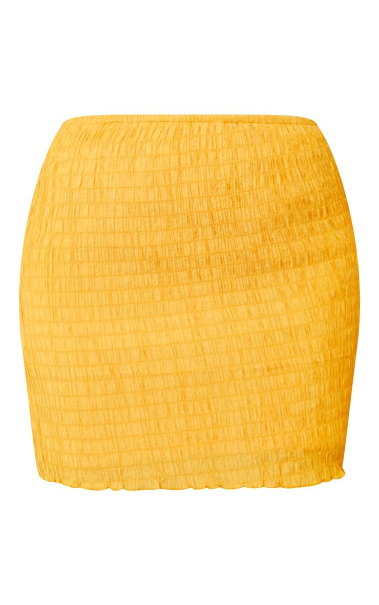 Bright Orange Shirred Textured Mini Skirt 6