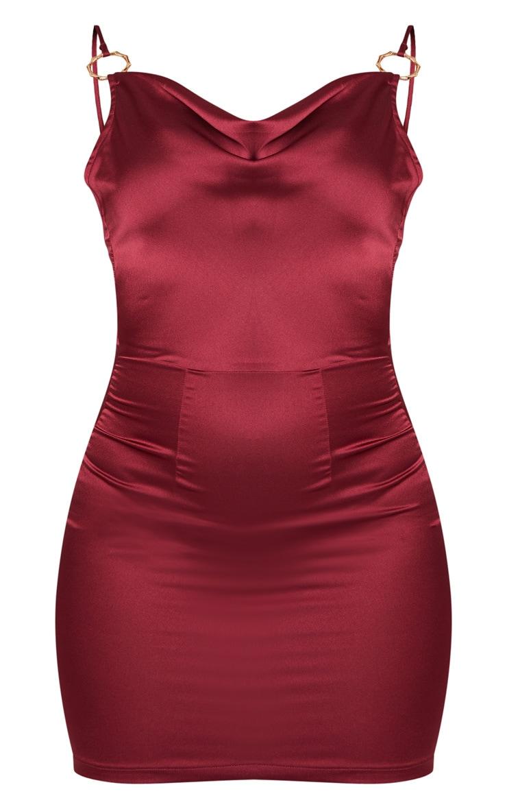 Burgundy Satin Cowl Neck Ring Detail Bodycon Dress 3