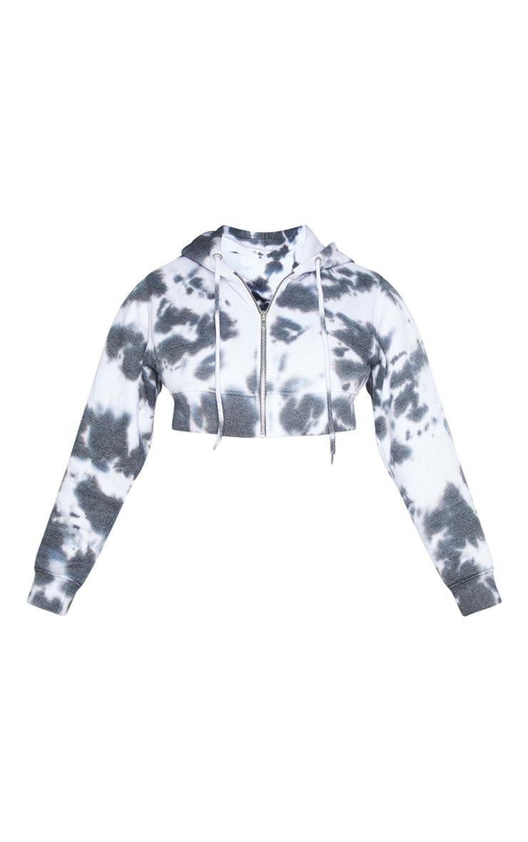 Grey Tie Dye Zip Detail Crop Hoodie 6