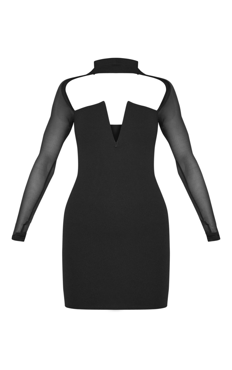 Black Choker Neck Mesh Sleeve V Plunge Bodycon Dress 3