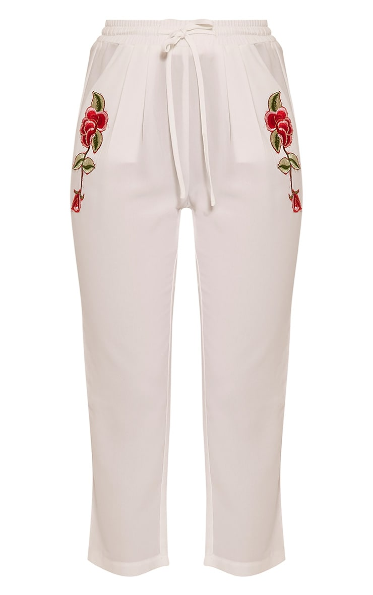 Delaney White Embroidered Pocket Trousers 3