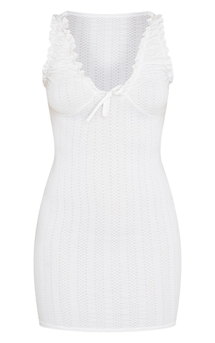 White Broderie Rib Ruched Sleeve Detail Bodycon Dress 5