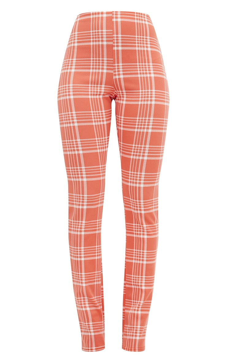 Orange Check Print Tapered Trousers  3