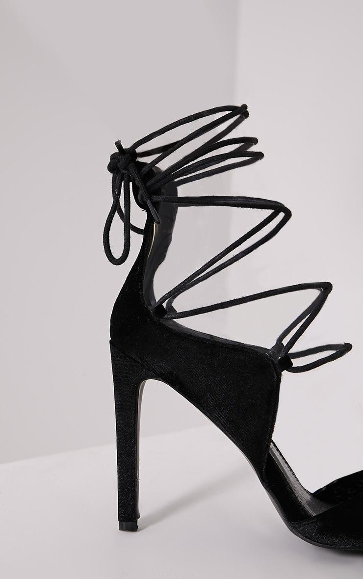 Heidey Black Velvet Lace Up Heels 6