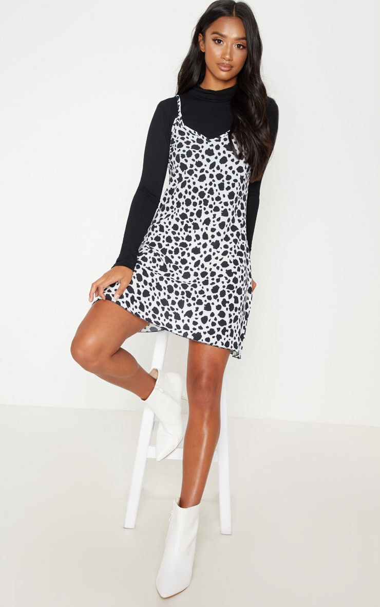 Petite White Dalmatian Print Swing Dress 1