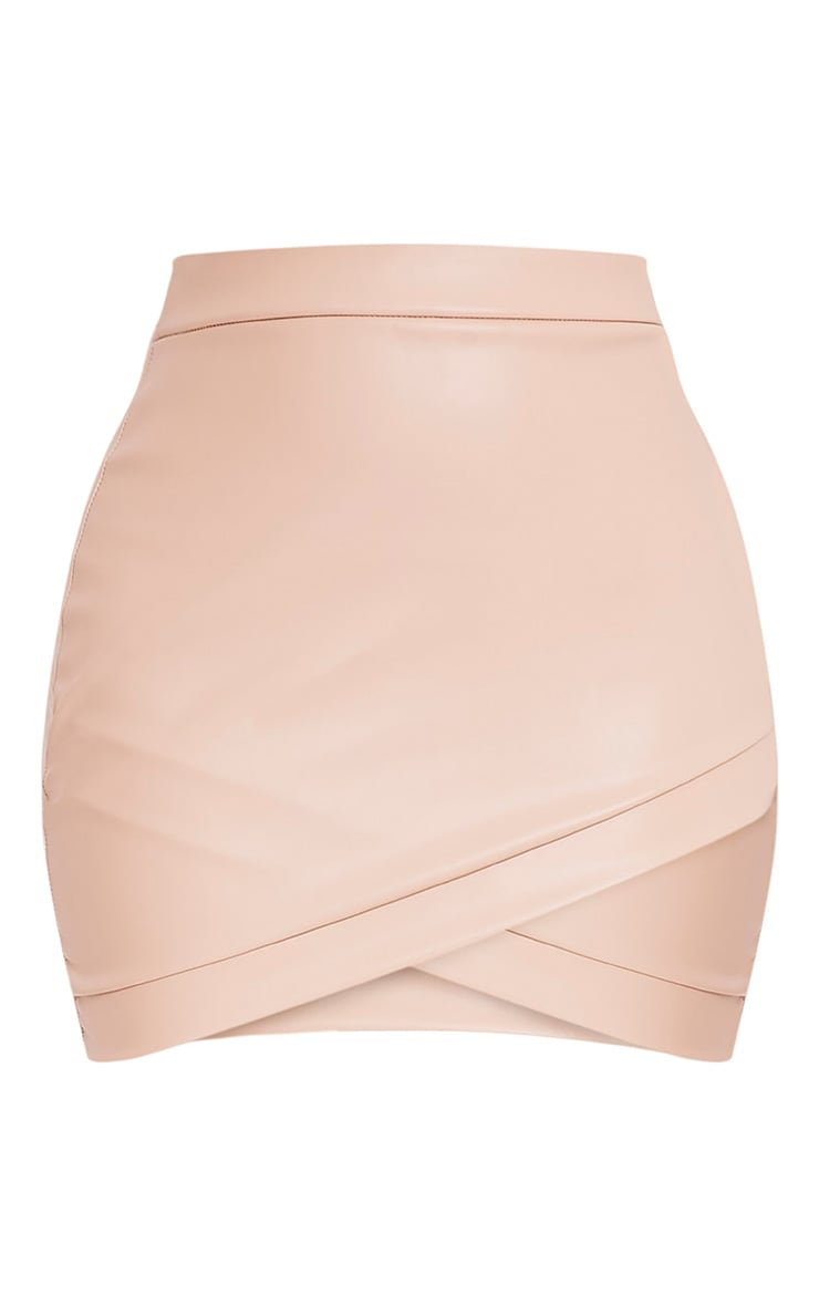 Gabriella Nude Faux Leather Mini Skirt 3