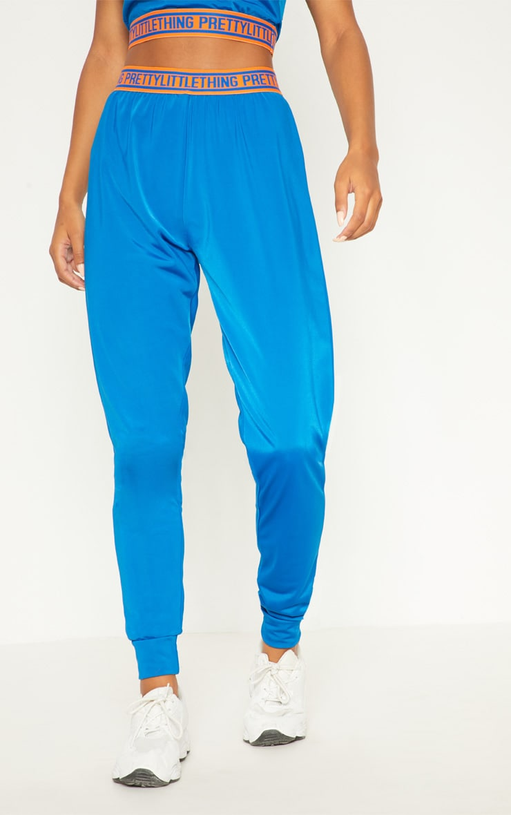 PRETTYLITTLETHING Cobalt High Waisted Joggers 2