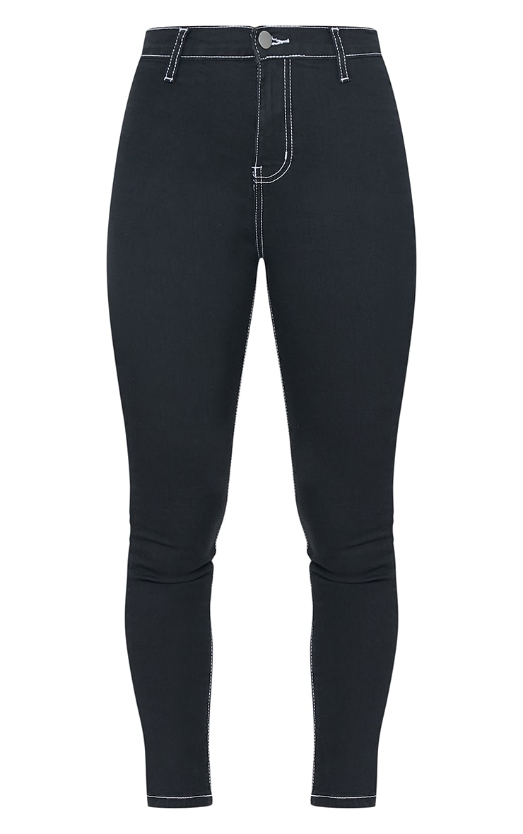 Black And White Stitch Disco Skinny Jeans 5