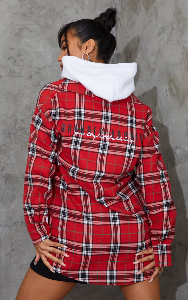 PRETTYLITTLETHING Red Back Print Checked Oversized Shirt 2