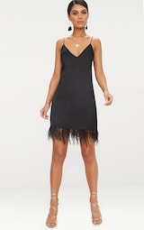 3dd920f873 Black Feather Trim Satin Plunge Shift Dress image 4