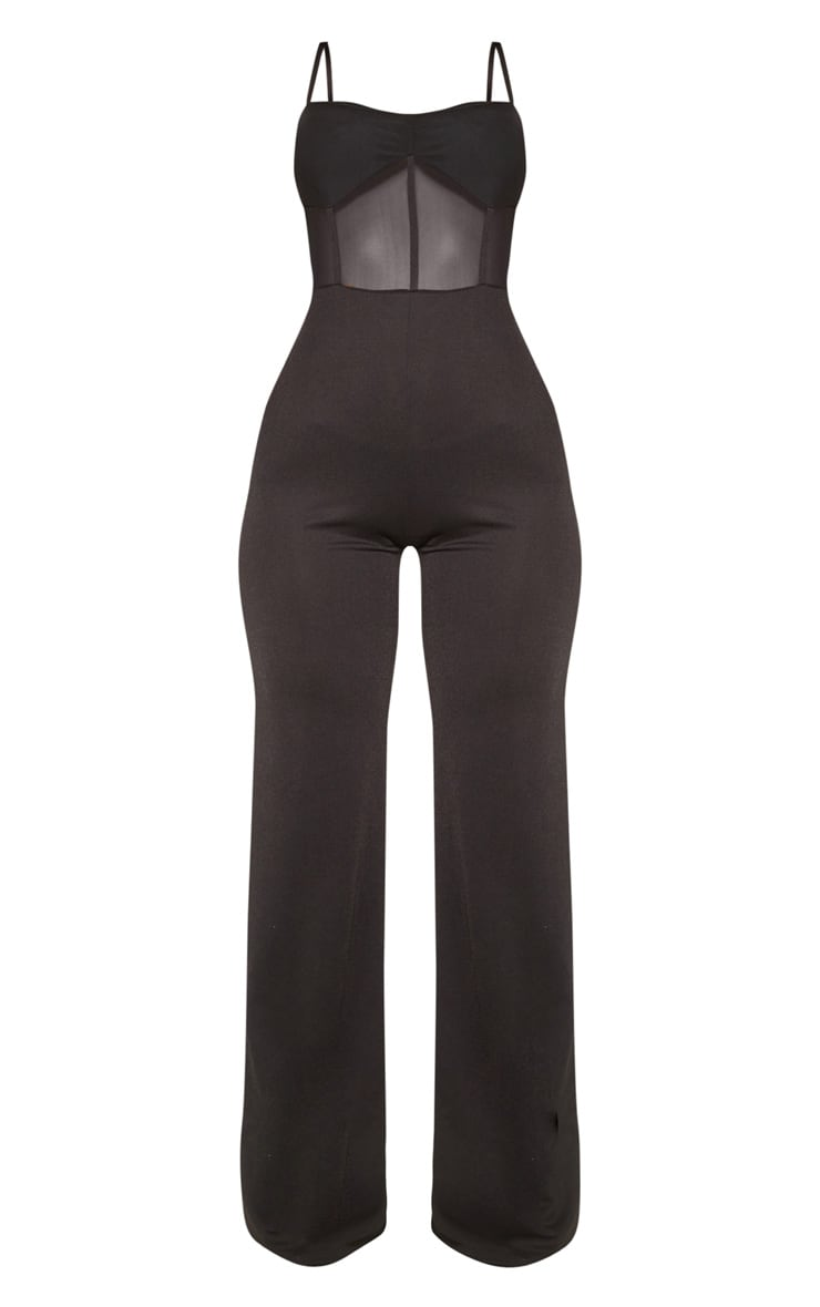 Black Mesh Bodice Wide Leg Jumpsuit 3