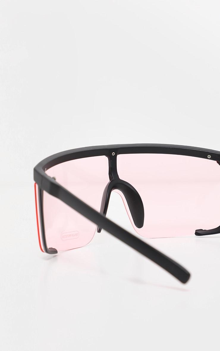 Pink Semi Frame Visor Sunglasses 4