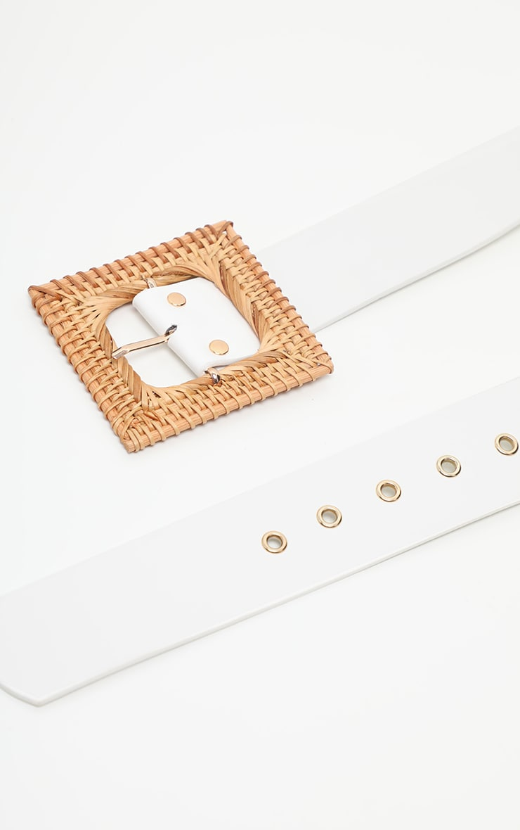 White Woven Square Straw Buckle Belt  3