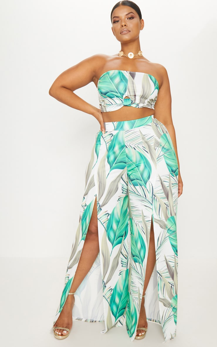 Plus White Tropical Print Wide Leg Trousers 1