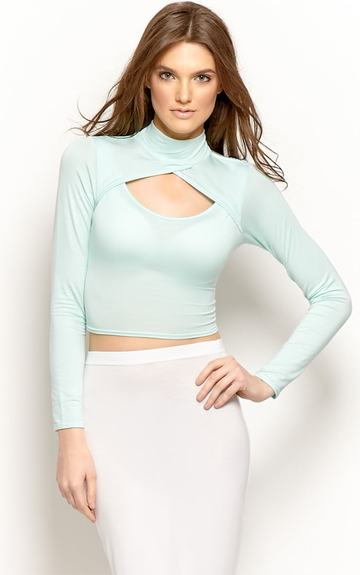 Jenna Mint Roll Neck Cut Out Crop Top  1