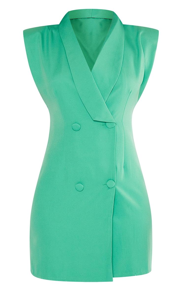Green Sleeveless Shoulder Pad Blazer Dress 5