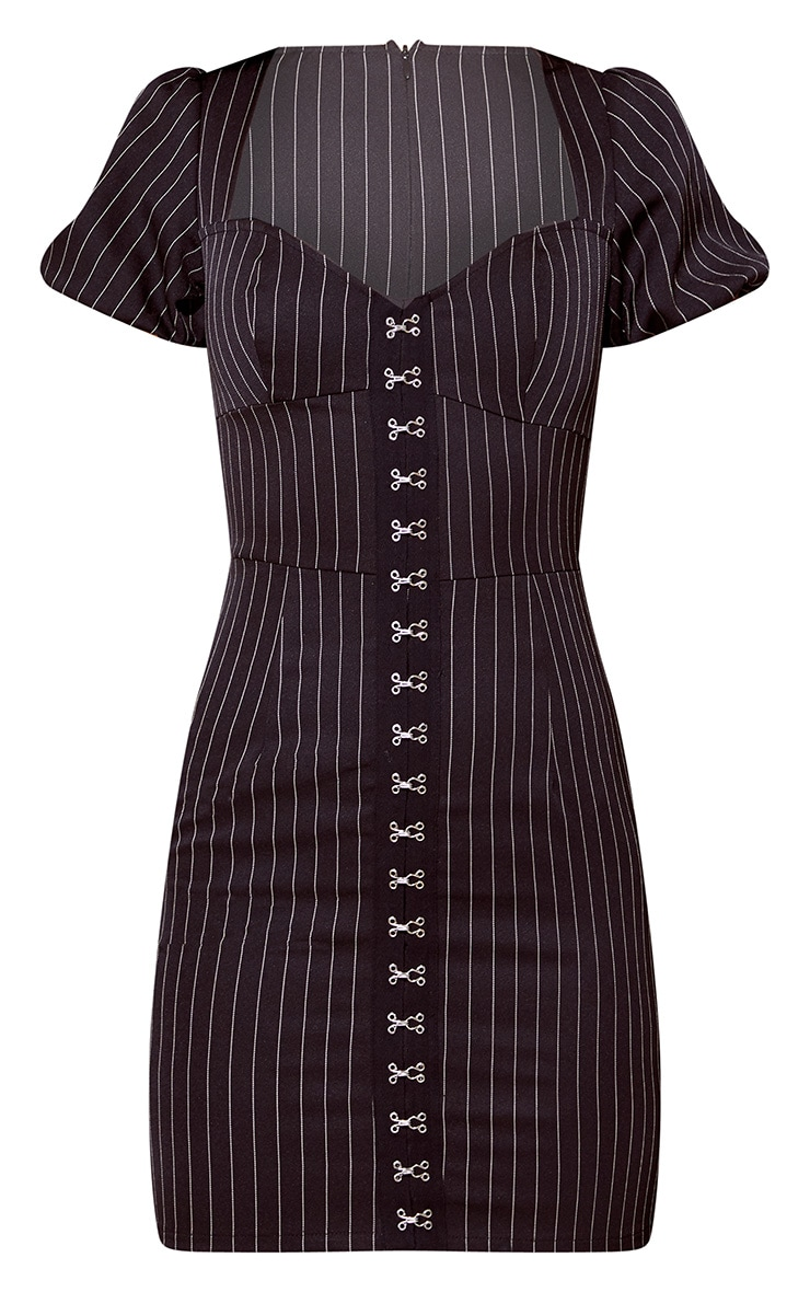 Black Pinstripe Puff Sleeve Bodycon Dress 4
