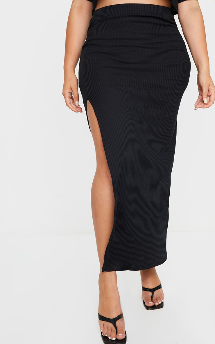Plus Black Soft Rib Split Front Maxi Skirt 2