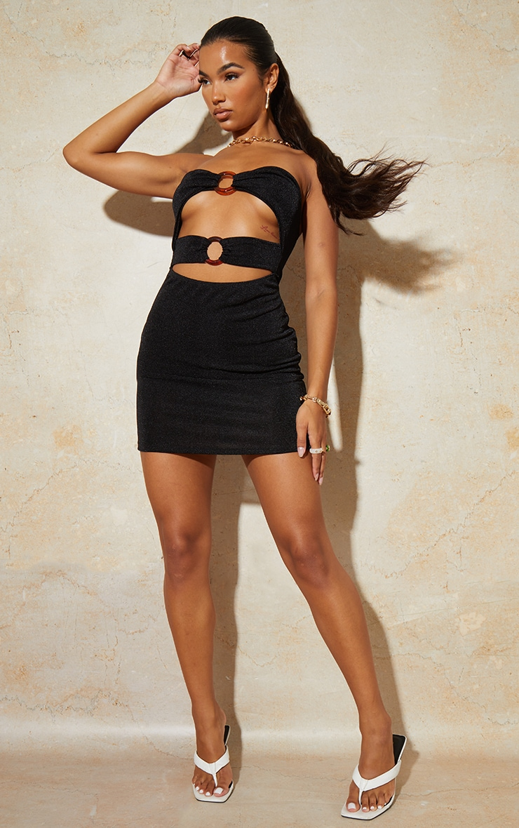 Black Textured Slinky Bandeau Cut Out Ring Detail Bodycon Dress 3
