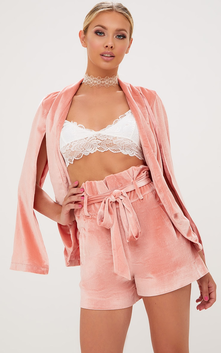 Blazer cape en velours rose 1