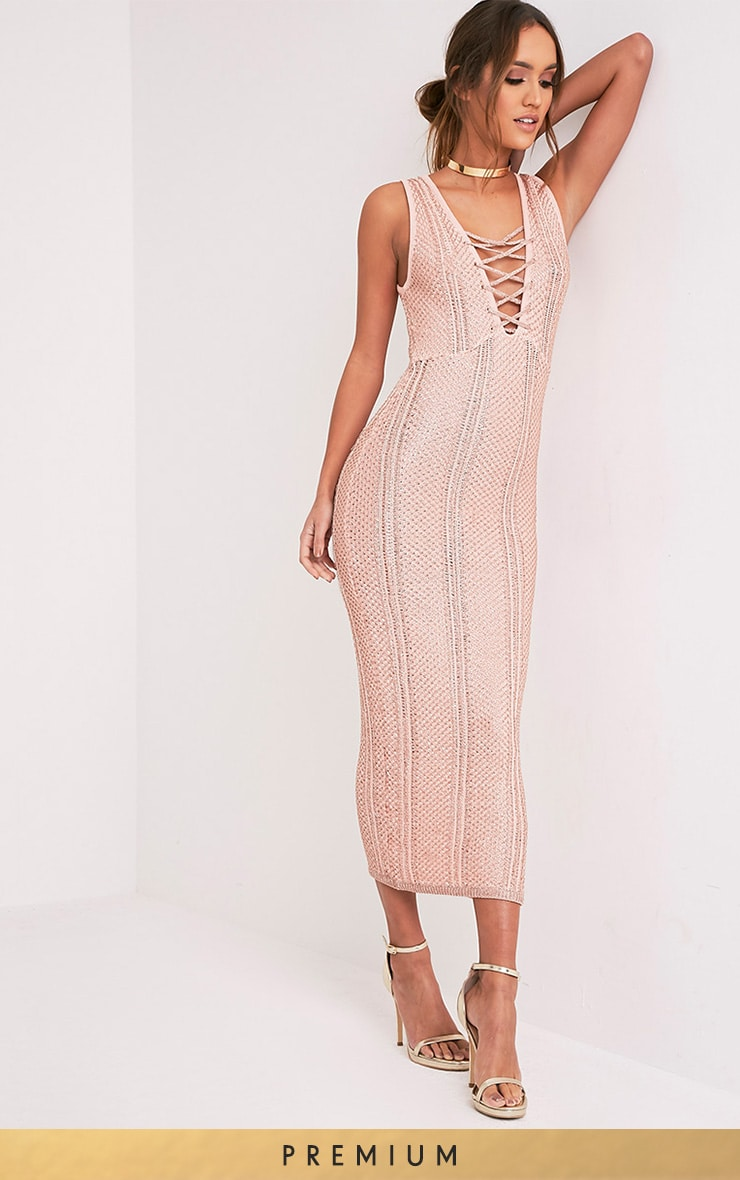 Avanya Blush Metallic Knitted Midi Dress 1