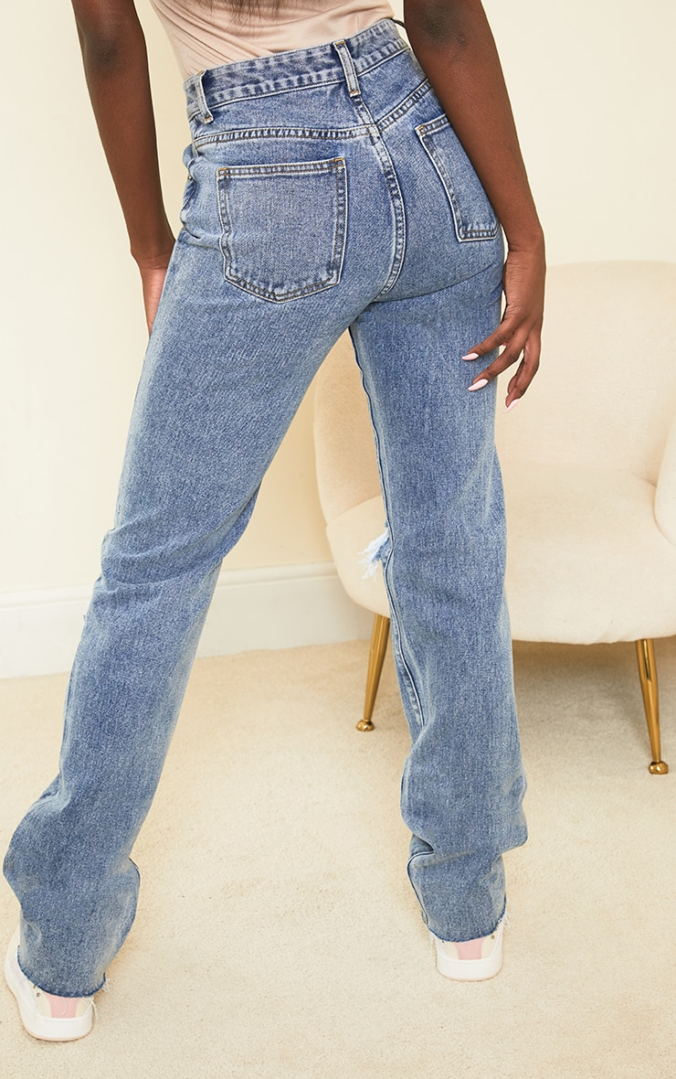 PRETTYLITTLETHING Blue Acid Wash Tall Distressed Long Leg Straight Jeans 3