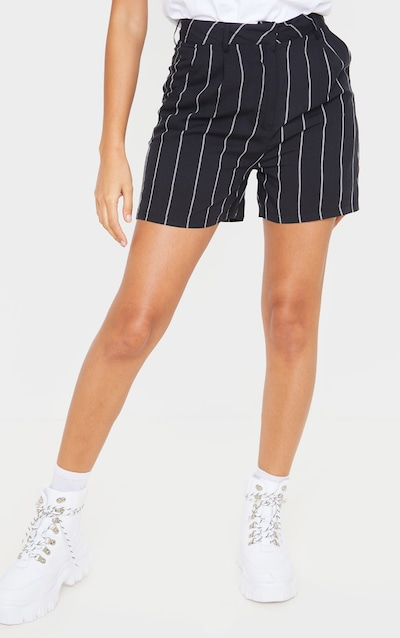 Black Pinstripe Woven Tailored Short