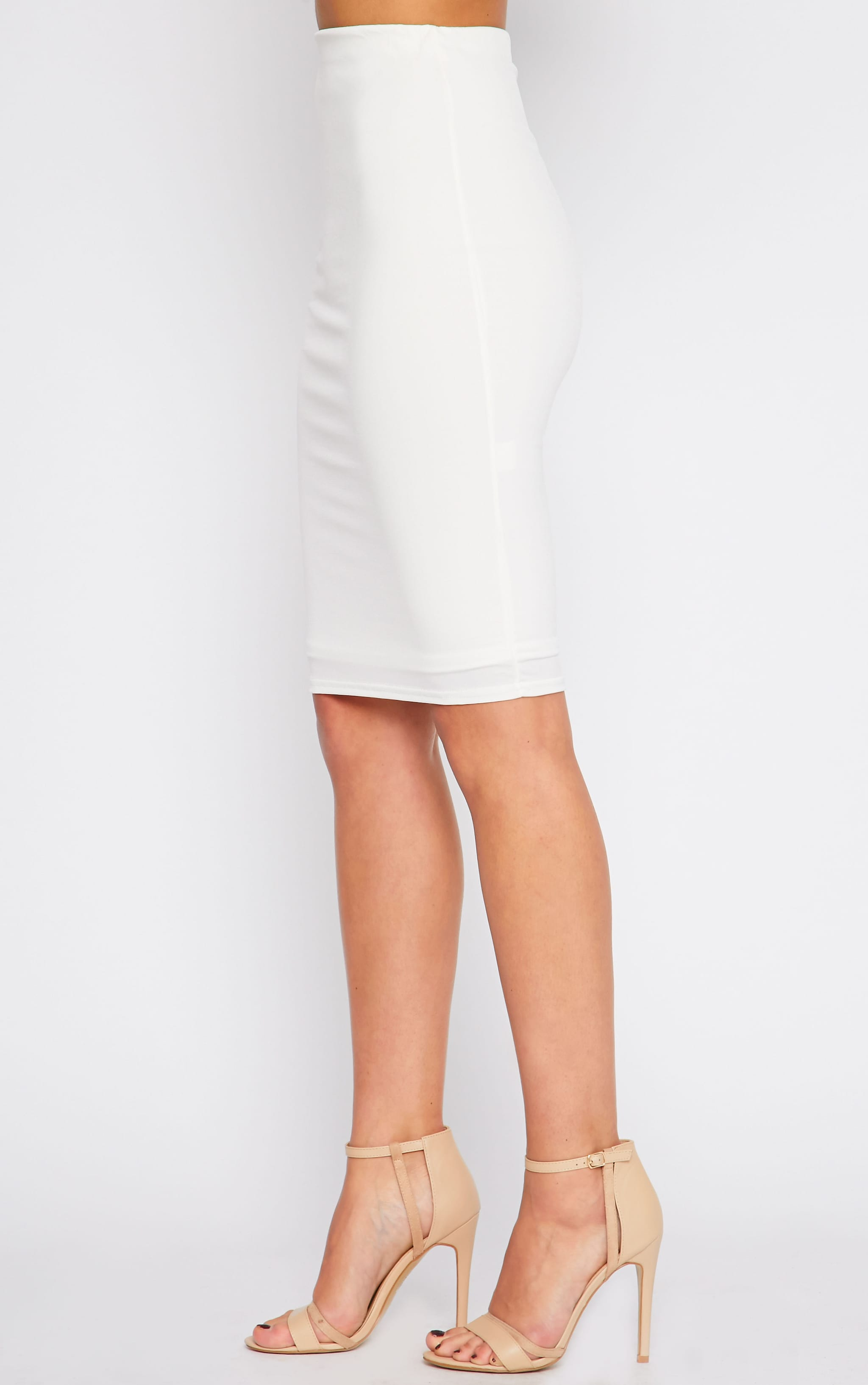 Bessie Cream Slinky Midi Skirt  3