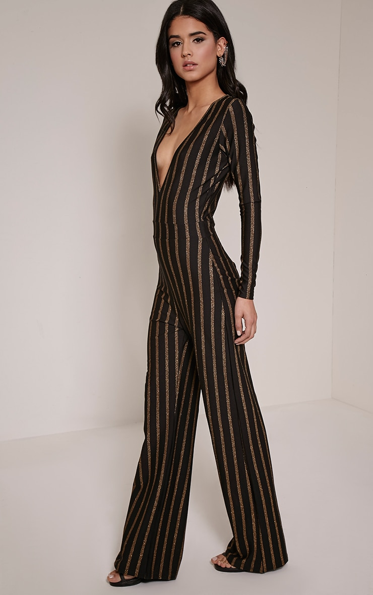 Arrie Gold Stripe Plunge Jumpsuit 4