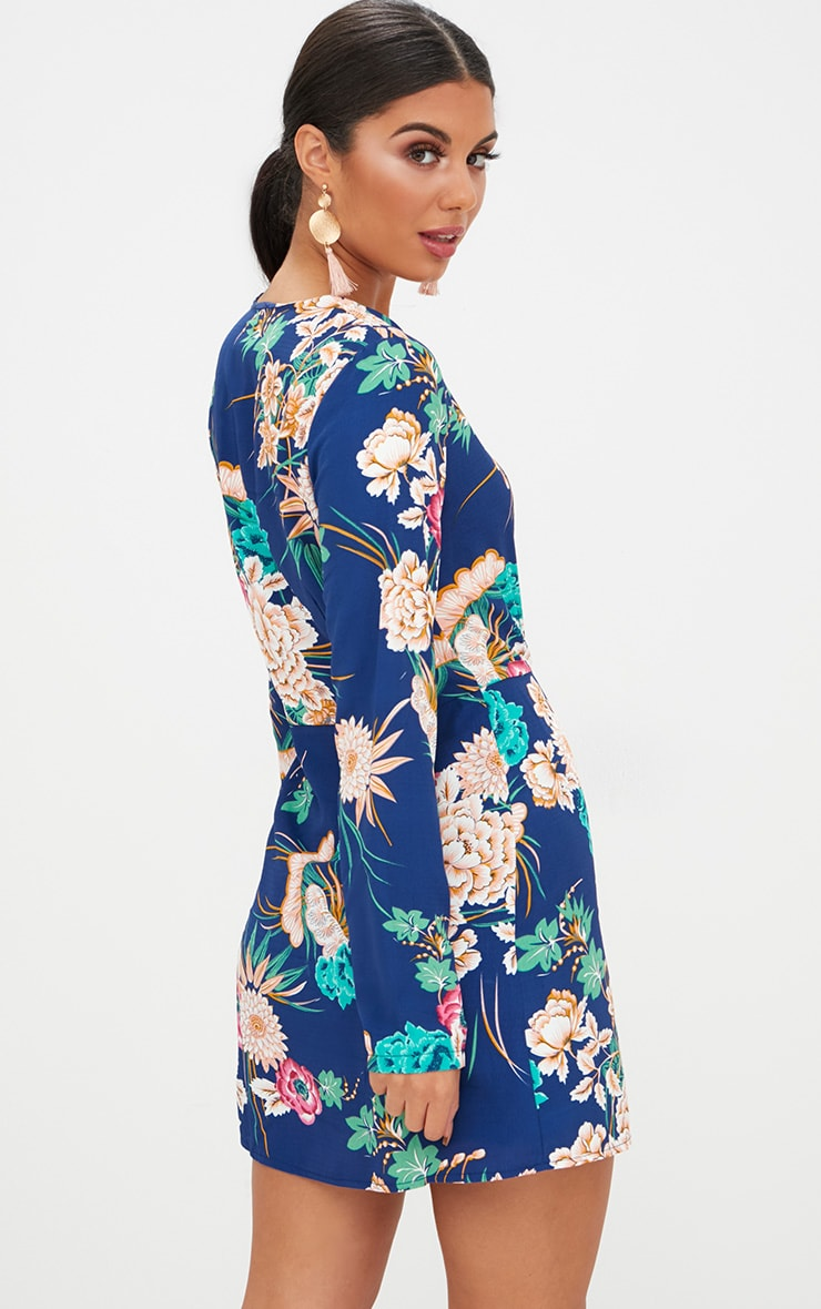 Blue Floral Long Sleeve Wrap Dress 2